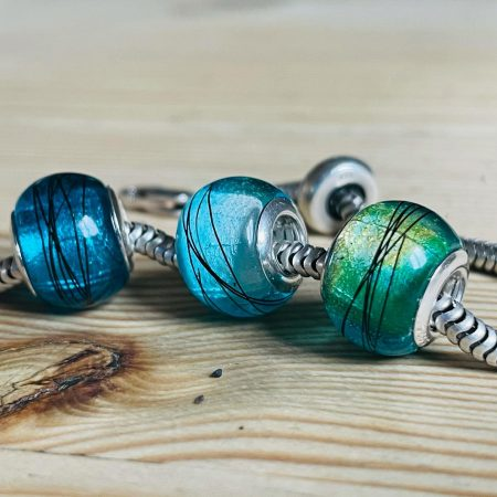 Blue Dyed beads with different core colour
